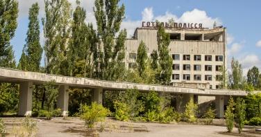 Hotel Polissja, gelegen aan het centrale plein in Prypjat.