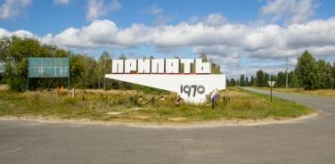 De stadsnaam van Prypjat, in 1970 gesticht voor medewerkers van de reactor in Tsjernobyl.