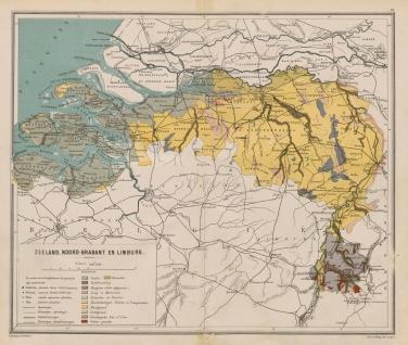 De provincies Zeeland en Limburg in de Bosatlas van 1883. Bron: Noordhoff Uitgevers.