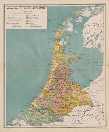 De provincies Noord-Holland, Zuid-Holland en Utrecht in de Bosatlas van 1883. Bron: Noordhoff Uitgevers.
