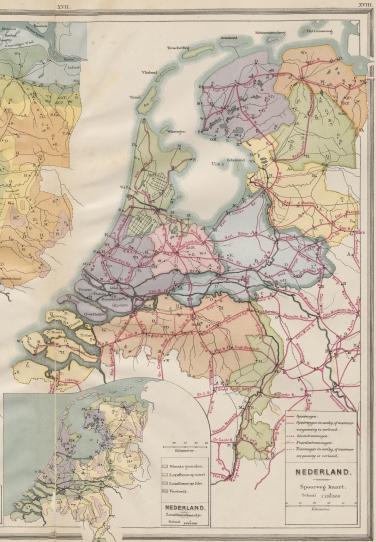 Een spoorwegkaart uit de Bosatlas van 1887. Bron: Noordhoff Uitgevers.