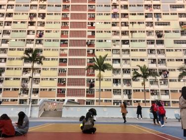 Flatgebouw met sportveld